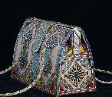 Geanta piele pictata traditional tuareg