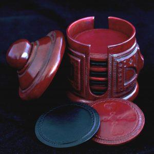 Suporturi pahare (coasters) imbracate in piele